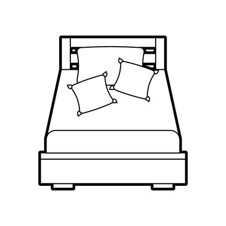 Letto di legno con l'illustrazione di vettore della stanza della mobilia della coperta del cuscino Archivio Fotografico - 85783284
