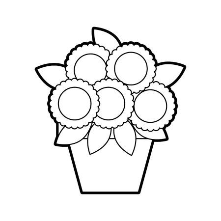 potted flower decoration natural indoor vector illustration