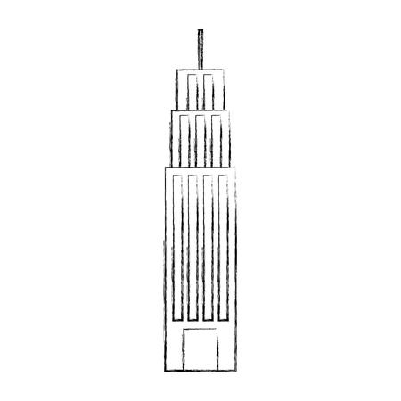building facade windows door high structure vector illustration Ilustração