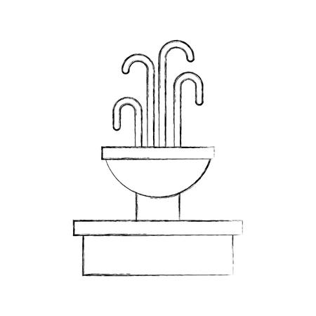 噴水と水スプラッシュ要素ベクトルイラスト  イラスト・ベクター素材