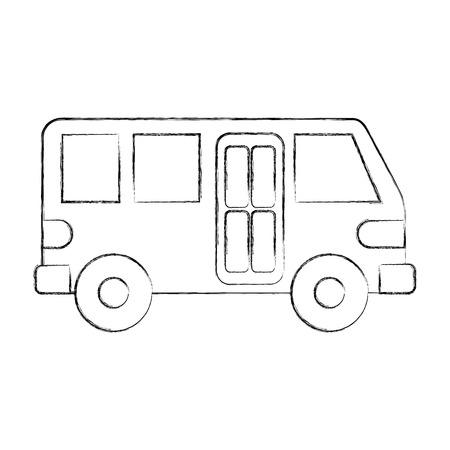 バス輸送サービス公共都市車両ベクトルイラスト  イラスト・ベクター素材