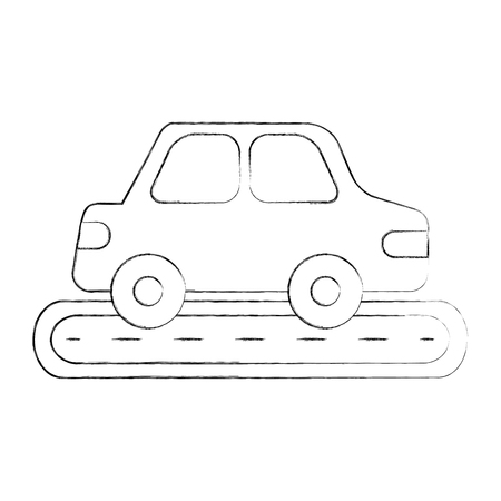 car isolated: car sedan on street vehicle urban side view vector illustration