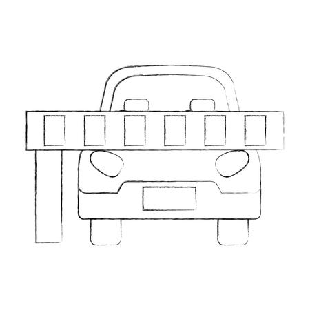 auto geparkeerd voor de barrière vector illustratie