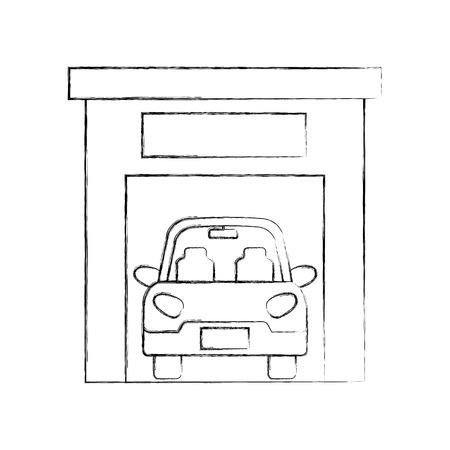 car inside garage repair parking icon image vector illustration Ilustração