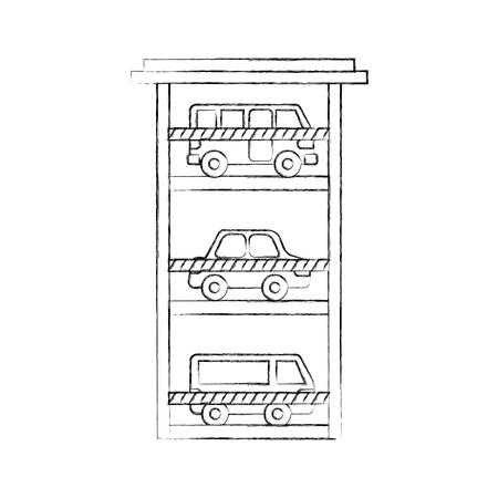 parkeren gebouw auto bus van voertuig commerciële vector illustratie Stock Illustratie