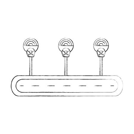 straat parkeren meters zone verkeersapparatuur vector illustratie
