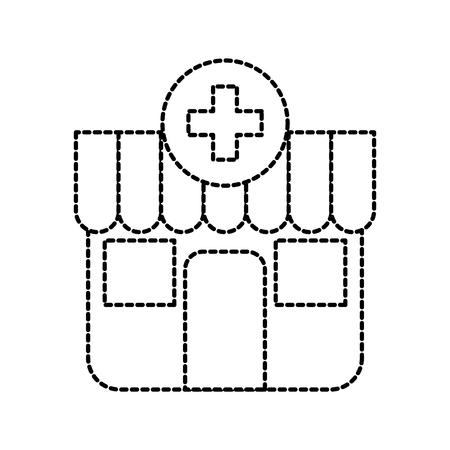 Gebäude außerhalb Apotheke Kreuz medizinische Vektor-Illustration Standard-Bild - 85823227