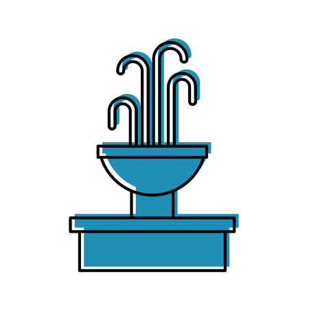 fountain with water splash element vector illustration Çizim