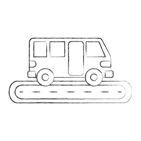 bus street service public urban vehicle vector illustration