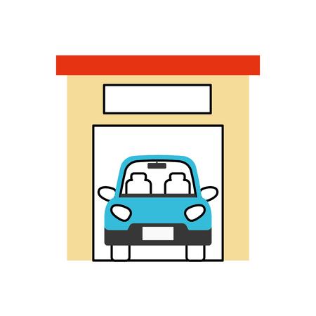 car inside garage repair parking icon image vector illustration Иллюстрация