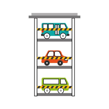 駐車場ビル車バスバン車両商用ベクトルイラスト