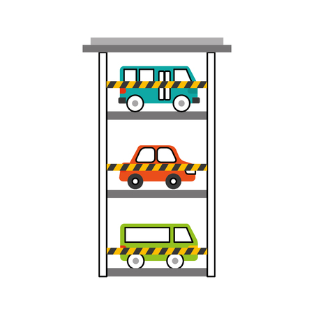 parking building car bus van vehicle comercial vector illustration