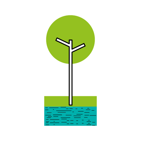 tree with river and grass natural foliage park plant vector illustration
