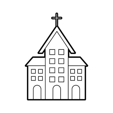 教会のキリスト教の宗教建築のベクトル図を建物