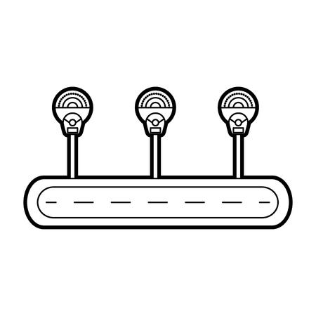 street parking meters zone traffic equipment vector illustration Иллюстрация