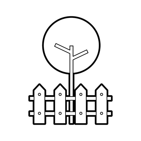 木のフェンス木製天然葉公園植物ベクトルイラスト  イラスト・ベクター素材