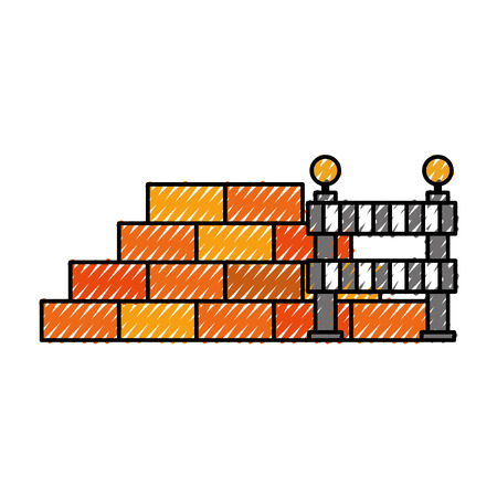 construction wall brick and barricade warning caution vector illustration