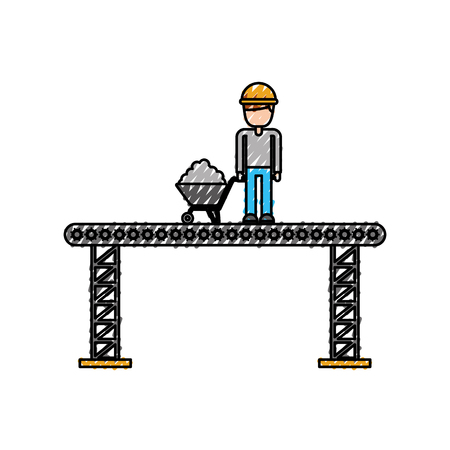 construction worker standing platform with wheelbarrow vector illustration