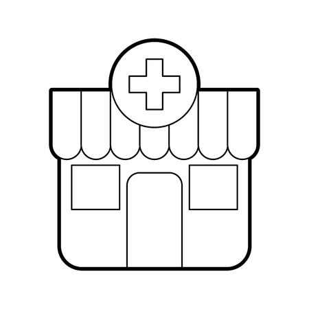 city background: building exterior pharmacy cross medical vector illustration