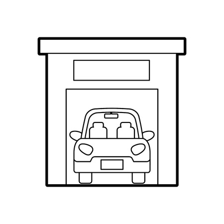 car inside garage repair parking icon image vector illustration Ilustrace