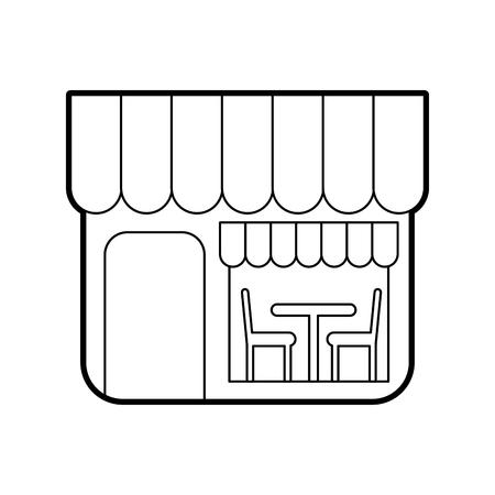restaurant exterior window door chair table vector illustration Ilustração