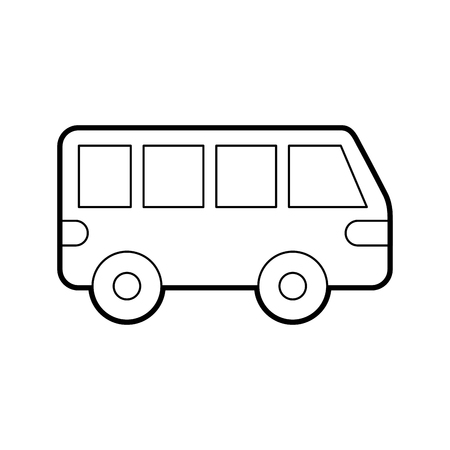 car isolated: van car transport vehicle motor wheel vector illustration
