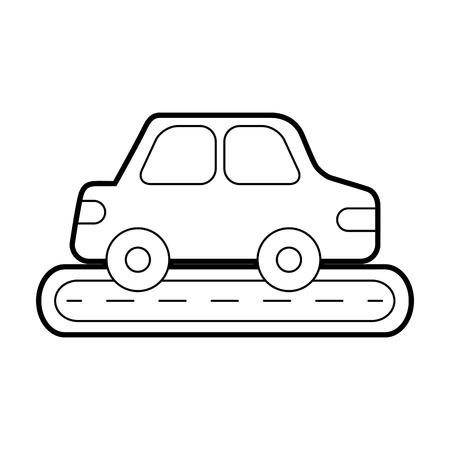 路上車両都市側ビューベクトルイラストに車セダン  イラスト・ベクター素材