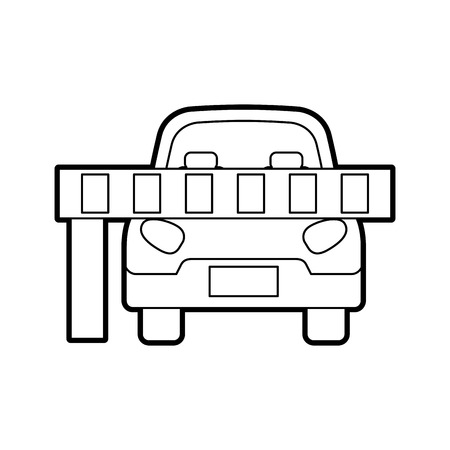 car parked in front of the barrier vector illustration