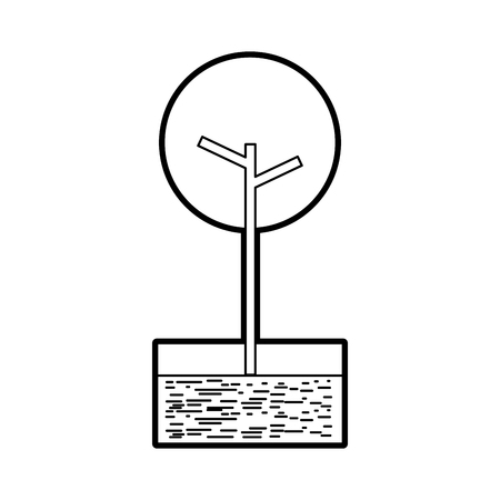 川と草の自然の葉の木公園植物ベクターイラスト  イラスト・ベクター素材