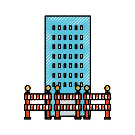 building architecture with barricade construction vector illustration 向量圖像