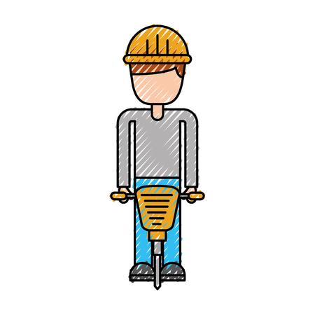 worker helmet jackhammer equipment construction vector illustration