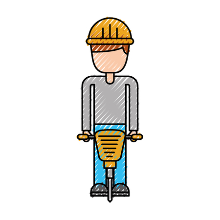 worker helmet jackhammer equipment construction vector illustration