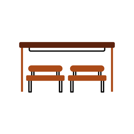 the bus stop with bench chair waiting vector illustration Illustration