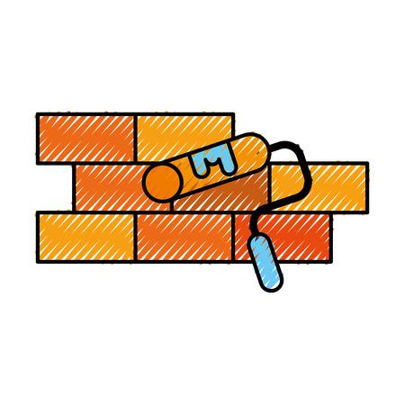 construction wall brick roller paint color repair vector illustration Illustration