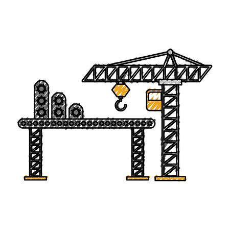 construction tower crane cabin scaffold equipment vector illustration