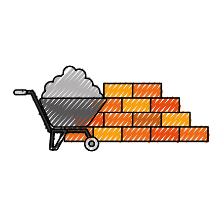 construction wall brick with wheelbarrow cement tool vector illustration