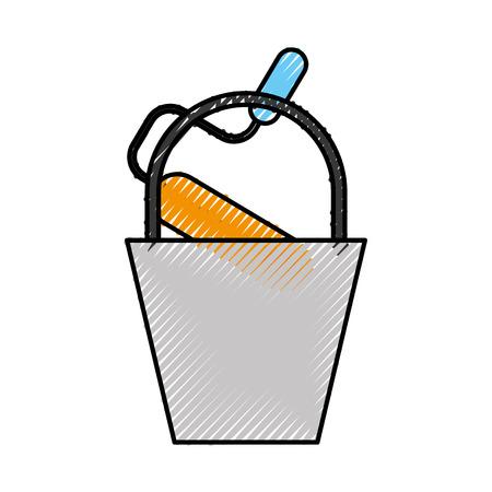 construction bucket roller paint color renovation vector illustration Иллюстрация