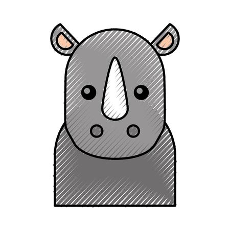 schattige cartoon neushoorn baby dierlijke wilde vectorillustratie