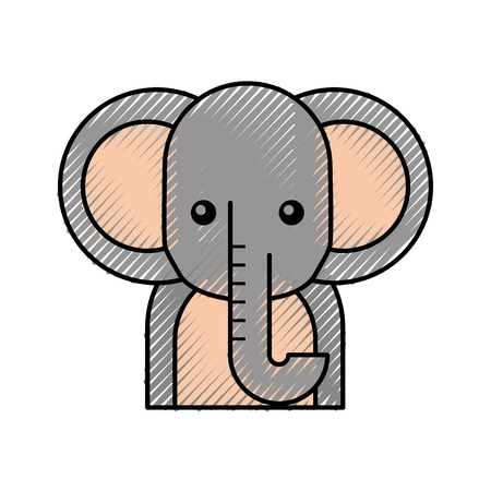 cute cartoon elephant animal wildlife vector illustration