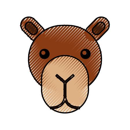 schattige hoofd kameel cartoon dier pictogram vectorillustratie