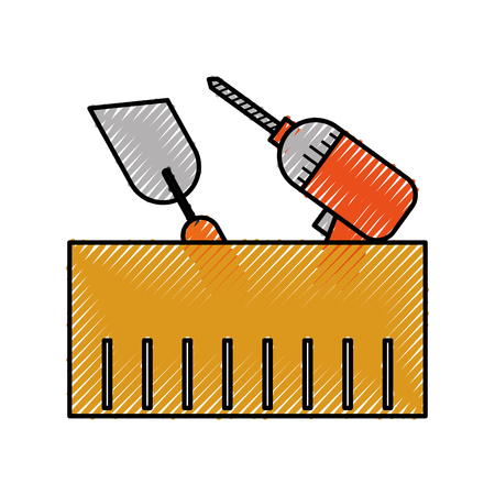 construction box with drill spatula tools vector illustration