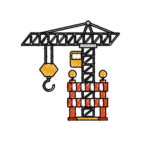 construction tower crane barricade caution vector illustration