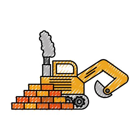 mine site: truck bulldozer machinery equipment construction vector illustration Illustration
