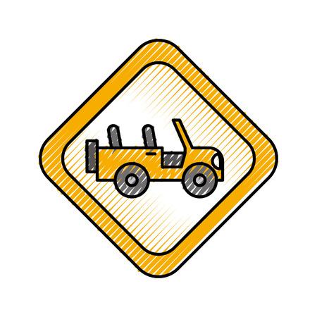 safari signal road jeep car transport vector illustration