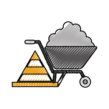 construction wheelbarrow with cement and cone traffic caution vector illustration