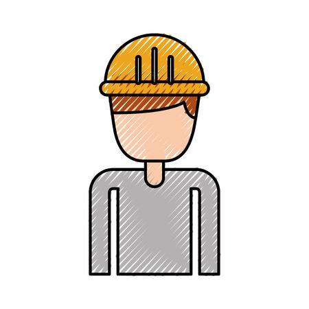 건설 노동자 초상화 캐릭터 매니저 벡터 일러스트 레이션