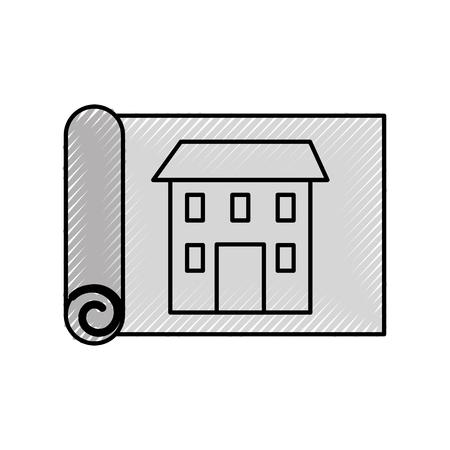 construction architecture blueprint house paper vector illustration