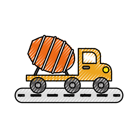 car isolated: mixer truck construction vehicle transport vector illustration