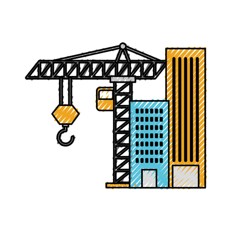 construction building tower crane equipment vector illustration