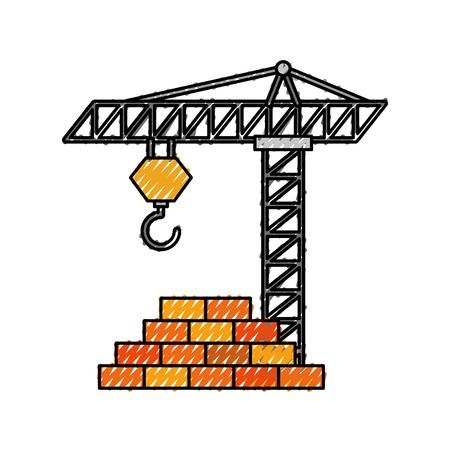 construction tower crane wall brick work vector illustration 向量圖像
